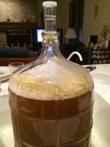 Then we added an extra 2.5  gallons of water and the yeast so it was a total of 5 gallons of beer that'll be made.